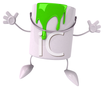 Royalty Free Clipart Image of a Paint Can Leaping in the Air