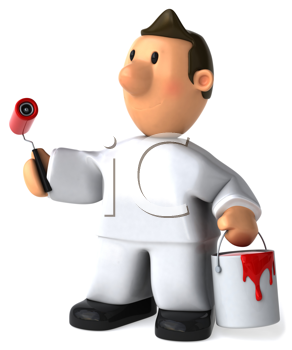 Royalty Free Clipart Image of a Painter With Red Paint in a Bucket and a Roller
