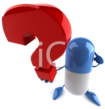 Royalty Free Clipart Image of a Capsule Holding a Question Mark