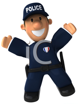 Royalty Free Clipart Image of a Happy Police Officer