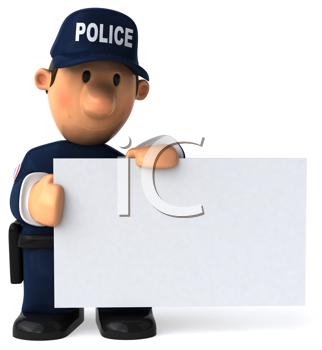 Royalty Free Clipart Image of a Policeman With a Blank Sign