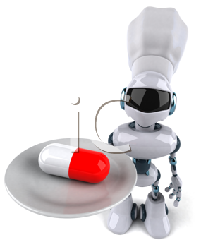 Royalty Free Clipart Image of a Robot With a Pill on a Plate