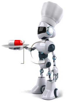 Royalty Free Clipart Image of a Robot Chef With a Pill on a Plate