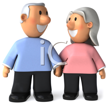Royalty Free Clipart Image of a Senior Couple Holding Hands and Looking at Each Other
