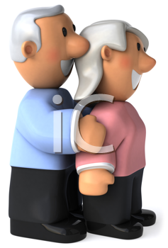 Royalty Free Clipart Image of a Grey Haired Couple