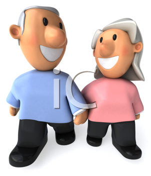 Royalty Free Clipart Image of a Couple of Grey Haired People
