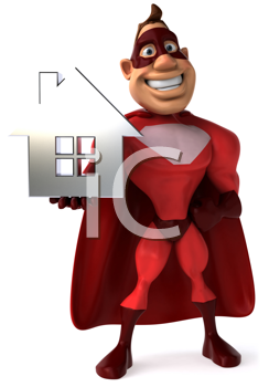 Royalty Free Clipart Image of a Superhero With a House
