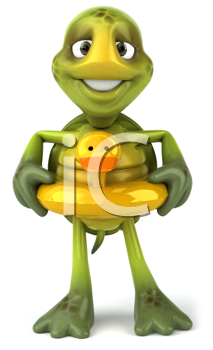 Royalty Free Clipart Image of a Turtle Wearing a Duck Float