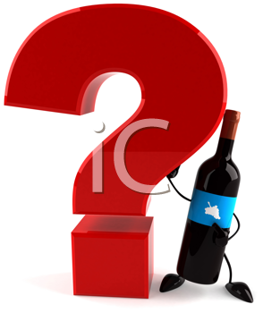 Royalty Free Clipart Image of a Red Question Mark Held by a Wine Bottle