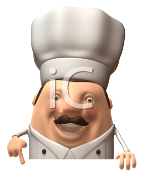 Royalty Free 3d Clipart Image of a Chef Pointing at a Sign Board