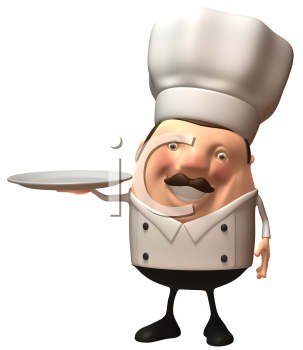 Royalty Free 3d Clipart Image of a Chef Holding a Dinner Plate
