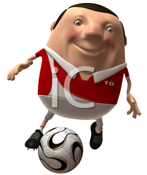 Royalty Free 3d Clipart Image of Soccer Player Dribbling a Ball