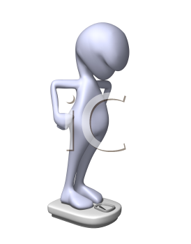 Royalty Free 3d Clipart Image of a Character Standing on a Weight Scale