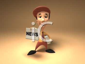 Royalty Free 3d Clipart Image of a Paperboy With an Armful of Newspapers