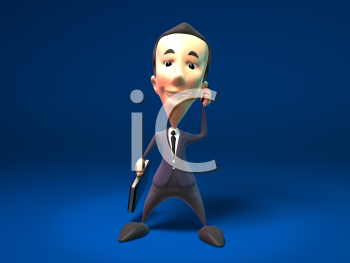 Royalty Free 3d Clipart Image of a Businessman Holding a Briefcase and Talking on a Cell Phone