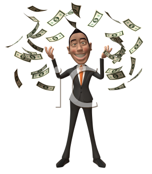 Royalty Free 3d Clipart Image of an Asian Businessman With Money Raining Down Around Him