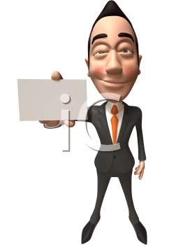 Royalty Free 3d Clipart Image of an Asian Businessman Holding a Business Card