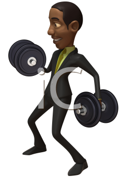 Royalty Free 3d Clipart Image of an African American Businessman Lifting Dumbbells