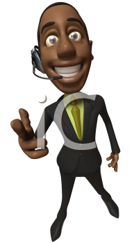 Royalty Free 3d Clipart Image of an African American Businessman Wearing a Telephone Headset and Pointing His Finger