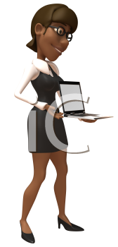 Royalty Free 3d Clipart Image of an African American Businesswoman Holding a Laptop Computer