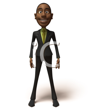 Royalty Free 3d Clipart Image of an African American Businessman