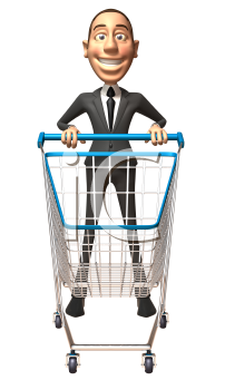 Royalty Free 3d Clipart Image of a Businessman Pushing a Shopping Cart