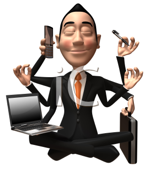 Royalty Free 3d Clipart Image of an  Asian Businessman Multitasking