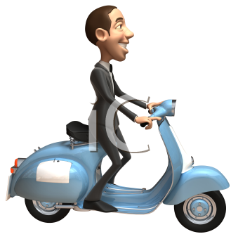 Royalty Free 3d Clipart Image of a Businessman Riding a Scooter