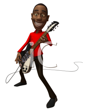 Royalty Free 3d Clipart Image of an African American Man Playing a Guitar