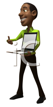Royalty Free 3d Clipart Image of an African American Businessman Holding a Laptop Computer
