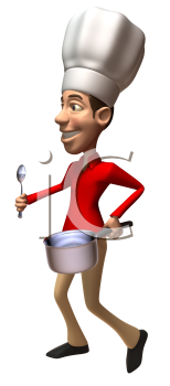 Royalty Free 3d Clipart Image of a Man Wearing a Chef's Hat and Holding a Pot and Spoon