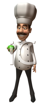 Royalty Free 3d Clipart Image of a Chef Looking at a Green Apple