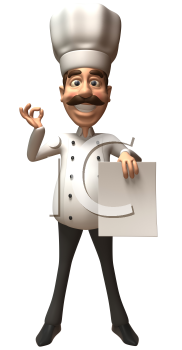 Royalty Free 3d Clipart Image of a Chef Holding a Paper Document