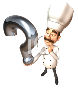Royalty Free 3d Clipart Image of a Chef Holding a Question Mark