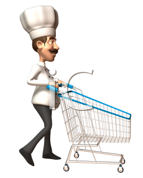 Royalty Free 3d Clipart Image of a Chef Pushing a Shopping Cart