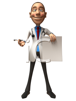 Royalty Free 3d Clipart Image of a Physician Holding a Paper Document and Pen
