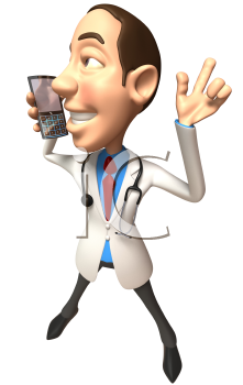 Royalty Free 3d Clipart Image of a Doctor Talking on a Cell Phone