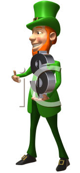 Royalty Free 3d Clipart Image of a Leprechaun Holding a Large Dollar Sign