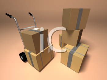 Royalty Free 3d Clipart Image of a Dolly Cart and a Stack of Boxes