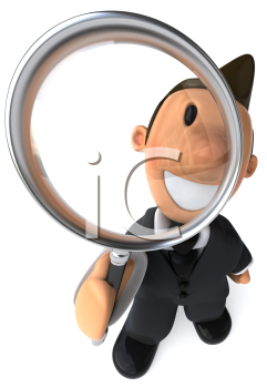 Royalty Free Clipart Image of a Businessman With a Magnfiying Glass