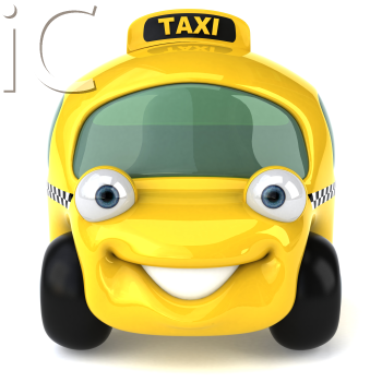 Royalty Free 3d Clipart Image of a Yellow Taxi