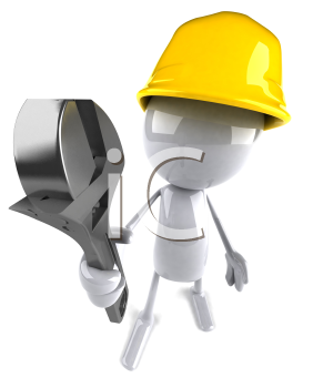 Royalty Free 3d Clipart Image of a Worker Carrying a Wrench