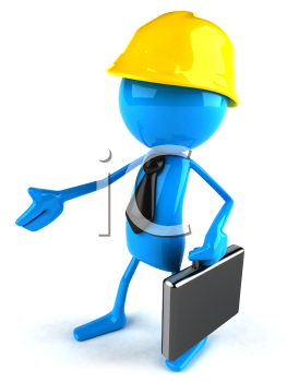 Royalty Free 3d Clipart Image of a Worker Carrying a Briefcase and Offering a Handshake