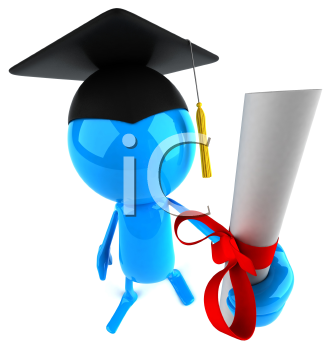 Royalty Free Clipart Image of an Image Holding a Certificate and Wearing a Mortarboard