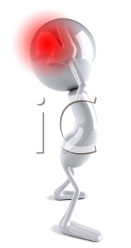 Royalty Free 3d Clipart Image of a Character With a Headache