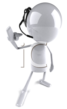 Royalty Free 3d Clipart Image of an Character Wearing a Telephone Headset and Pointing His Finger