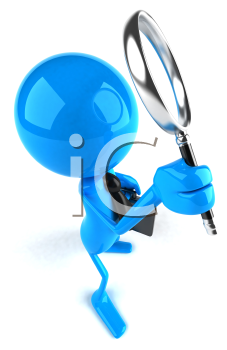 Royalty Free 3d Clipart Image of a Blue Guy Holding a Briefcase and Magnifying Glass