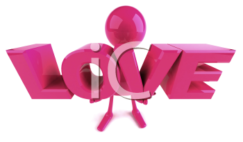 Royalty Free 3d Clipart Image of a Pink Guy Holding Large Letters that Spell Love