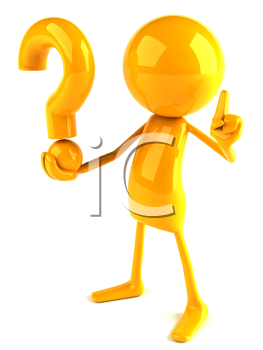 Royalty Free 3d Clipart Image of a Yellow Guy Holding a Large Question Mark