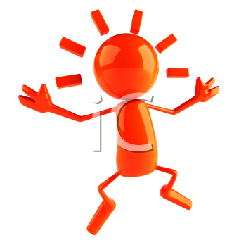 Royalty Free 3d Clipart Image of a Red Character Jumping in the Air